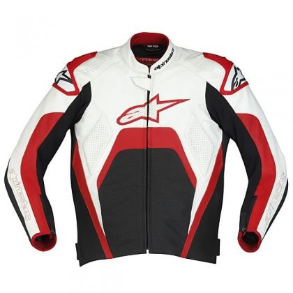 Alpinestars Tech 1-R Leather Jacket - White/Red